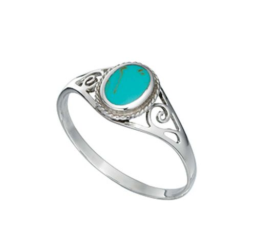 Blue Turquoise Oval Fancy Dress Cocktail Ring ROEEOT